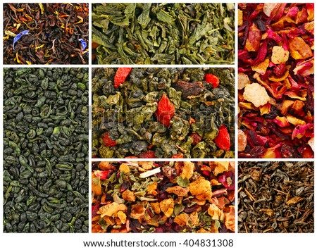 Assortment of dry tea close-up