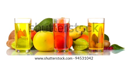 Assortment of exotic fruits and juice isolated on white