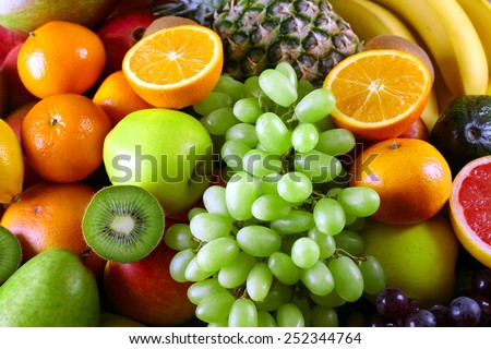 Assortment of exotic fruits close-up - stock photo