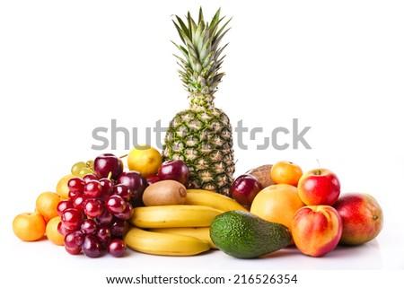Assortment of exotic fruits. Fresh Fruits - stock photo