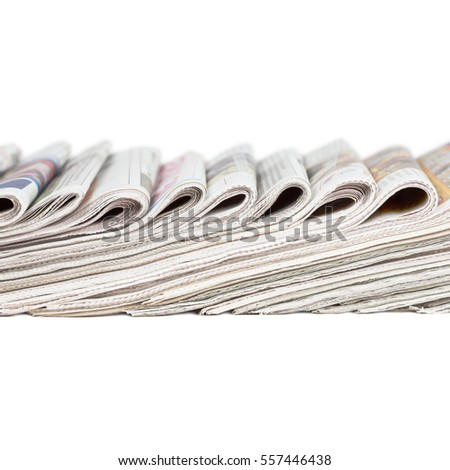 Assortment of folded newspapers isolated on white background. Square layout. Breaking news, journalism, headline, publishing information concept