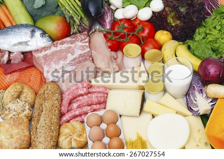 Assortment of food grouped by typology - stock photo