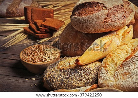 Assortment of fresh baked bread on the table, close-up
