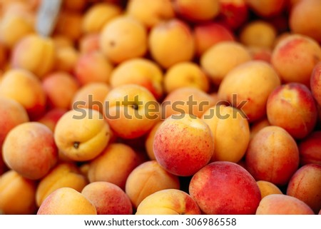 Assortment Of Fresh Organic Peach At Produce Local Market. Peach close up fruit background - stock photo