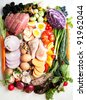 Assortment of Fresh Vegetables and Meats for Healthy Diet - stock photo