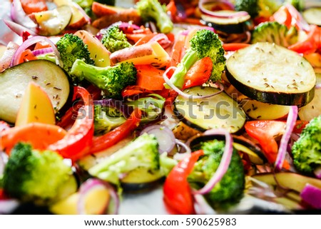 Assortment of Fresh Vegetables Close Up. Healthy Eating.