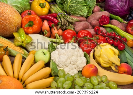 Assortment of fresh vegetables / food photography of the variety of fruits at the market