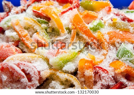 Assortment of frozen vegetables and peppers, closeup - stock photo