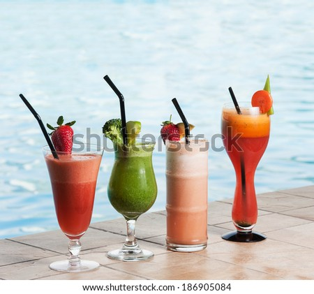 Assortment of fruit and vegetable juices