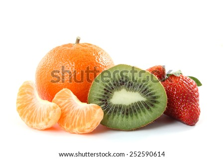 Assortment of fruit isolated over a white background. - stock photo