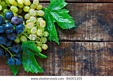 Assortment of grapes on a rustic wooden table