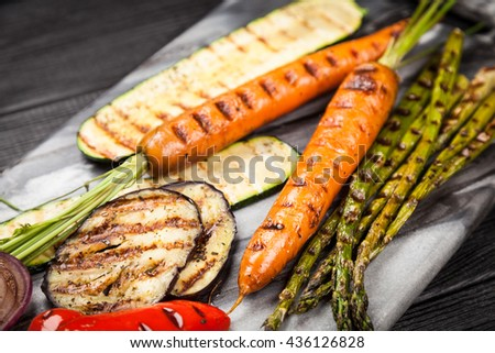 Assortment of grilled vegetables - stock photo