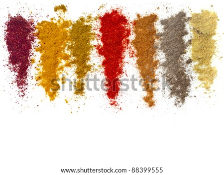 Assortment of ground powder spices isolated  on a white background - stock photo