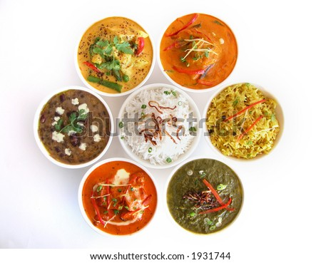 Assortment of indian dishes - stock photo