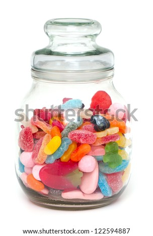 assortment of jelly candy in a glass jar