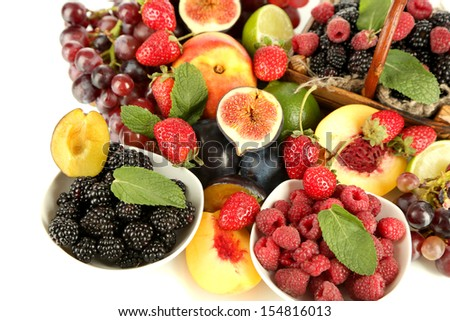 Assortment of juicy fruits and berries, close-up