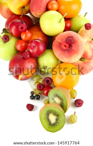 Assortment of juicy fruits, isolated on white - stock photo