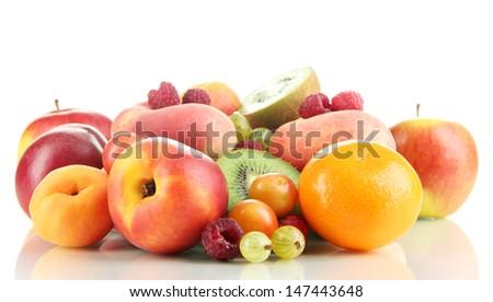Assortment of juicy fruits, isolated on white - stock photo