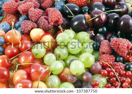 assortment of many fresh berries and fruit abstract  background