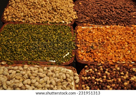 Assortment of nuts at La Boqueria, the famous market of Barcelona, Spain