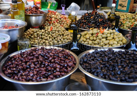 Assortment of olives on Hacarmel market,Tel Aviv,Israel - stock photo
