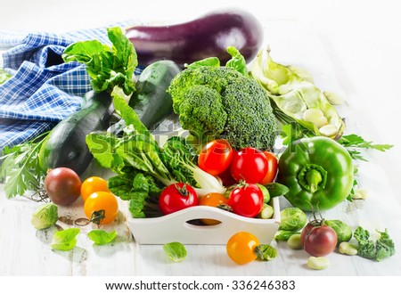 Assortment of Organic healthy bio vegetables. Selective focus