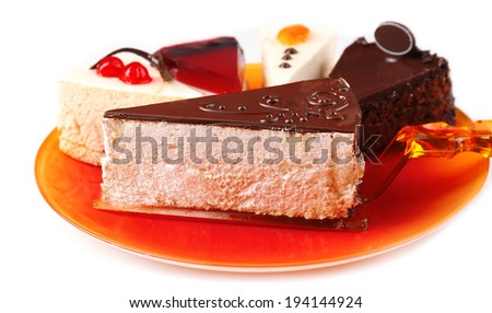 Assortment of pieces of cake, isolated on white - stock photo