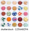 Assortment of pills and capsules of colours. Medication varied sampler, pills, tablets and drugs - stock photo