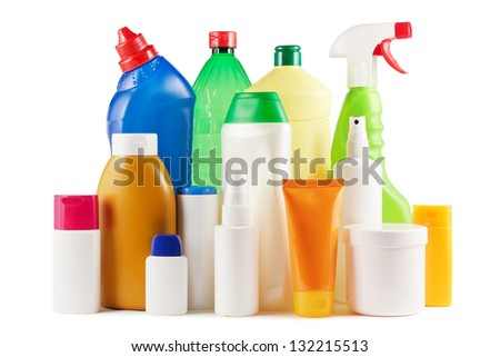 Assortment of plastic bottles on white