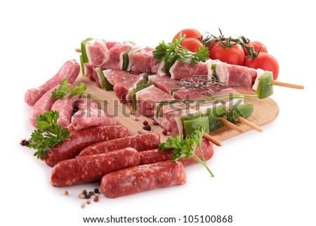 assortment of raw meats - stock photo