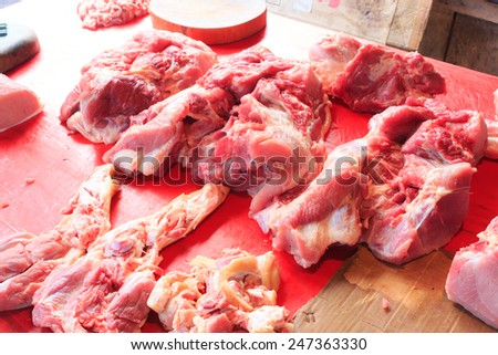 Assortment of read meat at a butcher shop - stock photo