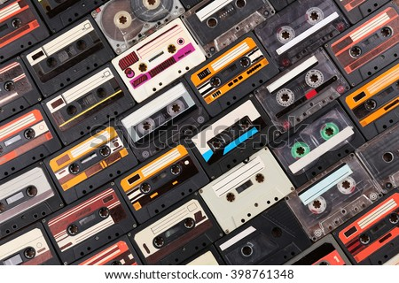 Assortment of retro cassette, closeup