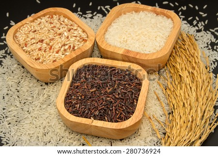 Assortment of rice in wooden bowl with paddy rice - stock photo