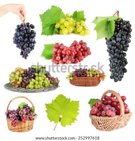 Assortment of ripe sweet grape isolated on white - stock photo