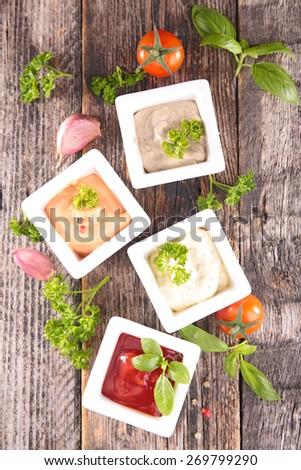 assortment of sauce - stock photo