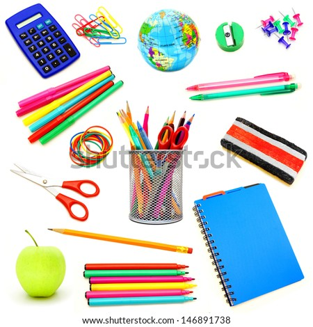 Assortment of school supplies individually isolated on white - stock photo