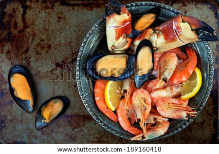 Assortment of seafood - stock photo