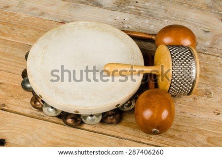 Assortment of several small percussion instruments - stock photo