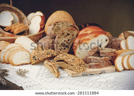 Assortment of sliced bread