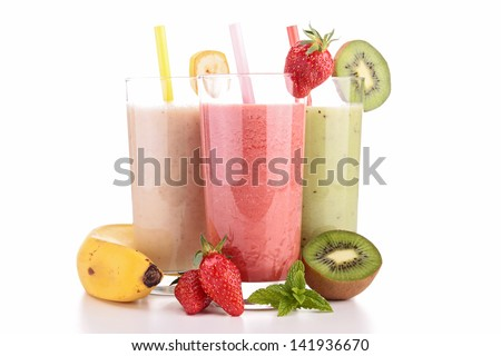 assortment of smoothies - stock photo