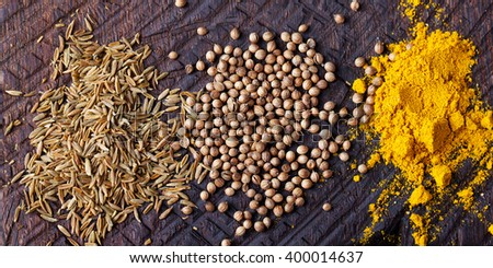 Assortment of spices. Cumin, carry, turmeric, coriander seeds on an old wooden cutting board. Background, text, copy space