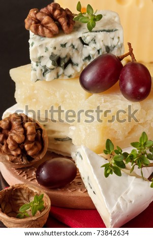 Assortment of tasty cheese, walnuts and grapes.