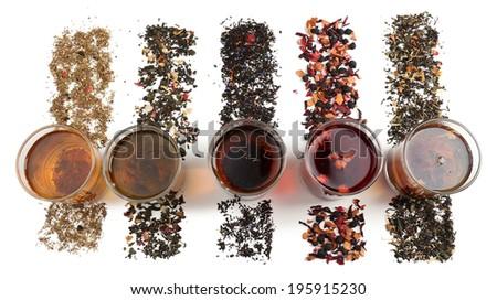Assortment of tea isolated on white - stock photo