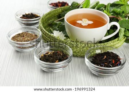 Assortment of tea on table  - stock photo