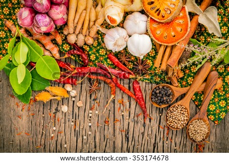 Assortment of  Thai food Cooking ingredients spice taste ,healthy and delicious foods. - stock photo
