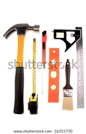 Assortment of tools on white background