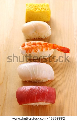 Assortment of traditional japanese sushi