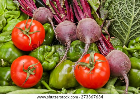 Assortment of vegetables  Fresh fruits and vegetables background - stock photo