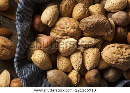 Assortment of Whole Raw Mixed Nuts for the Holidays