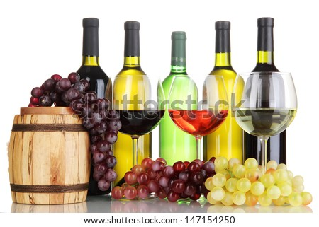 Assortment of wine in glasses and bottles isolated on white - stock photo